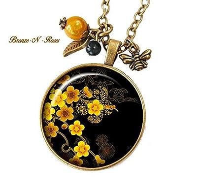 Collier * sakura * cabochon fleurs jaunes noirs japon