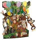 Santoro Interaktive 3D-Popnrock Grußkarte, Kleid Shop (spr015) Monkey Party