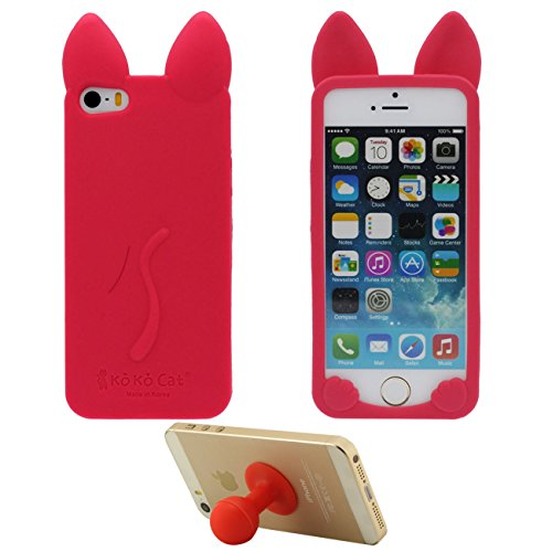 Pour iPhone SE iPhone 5S 3D Charmant Chat Forme Silicone Gel TPU Doux Slim Ultra Fine Coque Case Etui de Protection pour Apple iPhone 5 5S SE 5G ( Rouge ) avec 1 Silicone Titulaire Kickstand rouge