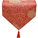 GGCCX Tischläufer Art Und Weise Einfache Rosafarbene Rosen Blüht Tabellenmarkierungsfahne 30*240Cm