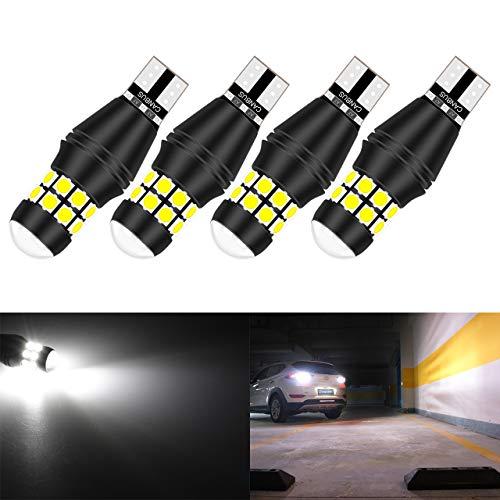 KaTur W16W 921 T15 912 LED Ampoule CANBUS sans Erreur sans polarité 6500K 3030 20SMD 12V 24V pour Feux de recul de feu de stationnement arrière de Voiture (4pcs, Blanc)