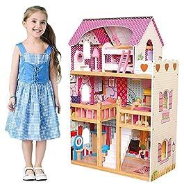 BAKAJI Casa delle Bambole Giocattolo per Bambini Realizzata Interamente in Legno 3 Piani 5 Stanze Cu
