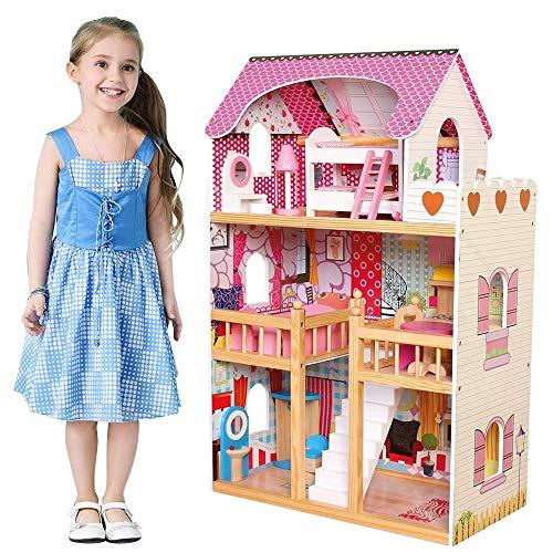 bakaji casa delle bambole giocattolo per bambini realizzata interamente in legno 3 piani 5 stanze curata in ogni dettaglio con mobili e accessori gioco dimensione 60 x 30 x h90 cm