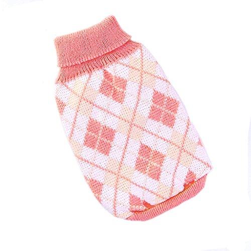 fulla2116Argyle Muster Knit Rollkragen Haustier Hund Pullover Reinigungstuch