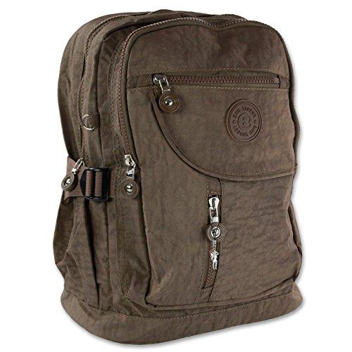 Bag Street Nylon Rucksack Bag Wanderrucksack Backpack Freizeit Arbeit City (Grau) Braun