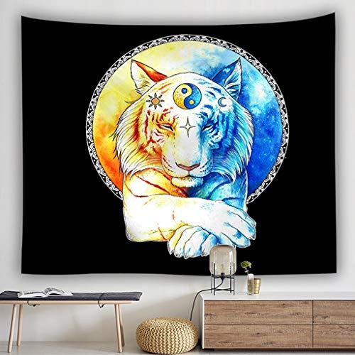 YJLGRYF Tiger Tapisserie Wandbehang Cool Animal Bengal White Tiger Print Wand Stoff Wandteppiche Werfen Artwork 3D Coole Wandteppiche Böhmischen Mandala Tapisserie Wandbehang (größe : 78.7x59.1in) - Tiger-print-stoff