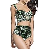 MODETREND Donna Bikini Coordinato Costumi da Bagno Triangolo Stampato Foglie di bambù Due Pezzi Push up Reggiseni + Slip Pantaloncini Costumi Interi Beachwear Mare e Piscina