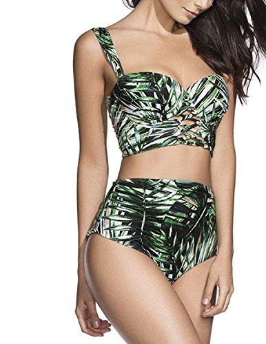 Modetrend Femme Bikini 2 Pieces Bandage Imprimé Push-up Rembourré Maillot de Bain Shorty Taille Haute Bikinis - Vert - Taille Asian Medium