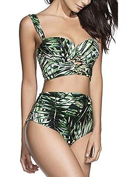 carinacoco Mujer Bañadores Traje de Baño Dos Piezas Push-up Bikinis Conjuntos de Bambú Impresa Playa Natación...