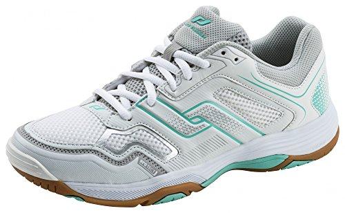 Pro Touch Damen Rebel Multisport Indoor Schuhe, Weiß (White/Grey/Turquoise 901), 40 EU