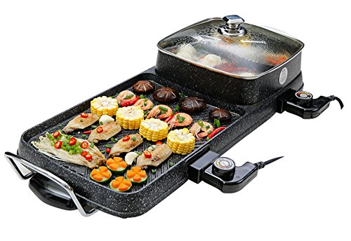 Grill Maifan Stone Electric Baking Pan Multi-Function Non-Smoking 220V Non-Stick Frying, Deep-Frying, Cooking, Roasting, Stir-Fry Together, Easy To Clean For 6 People To Eat At The Same Time