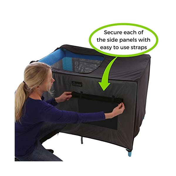 SnoozeShade Portable Blackout Blind and Canopy for Travel Cots SnoozeShade Sharing a room with your baby? There's no need to creep around in the dark (we've all done it). Let SnoozeShade make it easy. Keep the lights on without worrying about waking your little one. Invented by a British mum, it creates a comfortable darkened environment to help babies switch off and sleep in strange surroundings. Great for hotels, family visits, camping or any time you need baby to nap in the travel cot. So simple to use and easy to travel with. Just pop it over the travel cot, attach the bottom straps and you're done! Lightweight and no complicated attachments. 4