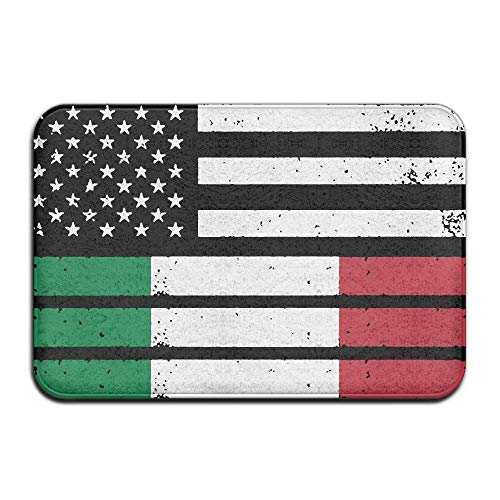 deyhfef Inside & Outside Floor Mat Italian American Flag Design Pattern for Patio Or Entryway