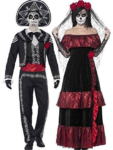 Paar Damen & Herren Tag der Toten volle Länge Skelett Zuckerschädel Halloween Kostüm Verkleidung Outfit - Schwarz, Ladies UK 20-22 & Mens Medium (Tag Toten Herren Halloween-kostüm Der)