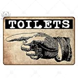 qnmbdgm Pittura Ferro Targa Toilette Targa in Metallo Bagno Vintage Targa in Metallo Targa in Metallo Decorazione da Parete per Toilette Bagno Bagno
