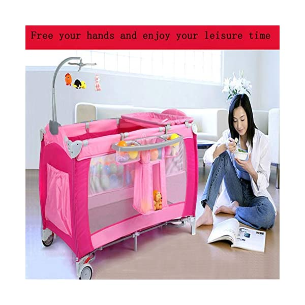 Mr.LQ Crib Portable Folding Baby Bed With Mosquito Net Multi-Functional Children'S Bed,Black,120x76x60cm  [Folded Baby Cot]Due to its folding design, you can take it to anywhere as you like by packing it in the supplied carry bag, and it just takes you a while to fold or unfold it before using. [See-through safety mesh]It features mesh cloth on both sides, this netted areas allow your baby to see out clearly as well as an onlooker to see in to her/him, and it also offers great ventilation for your baby. [Easy to Move] It designed in two wheels and two legs, you can move it around easily without any problems with the help of two wheels, and there is no issue to worry the stability due to the two sturdy legs. 7