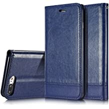 iPhone 7Plus caso, hualubro [Kickstand] [tutto intorno protezione] premio PU Pelle Flip Custodia Protettiva a Portafoglio con porta-carte per Apple Iphone 6PLUS 5.5inch 2016Smartphone, Pelle, Leather Wallet - Blue, For iPhone 7 Plus