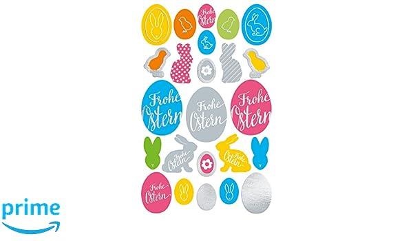 24 Osteraufkleber Avery Zweckform 39163 Oster Sticker Frohe Ostern, Ostereier, Osterhasen, zum Basteln oder f/ür Osterdeko