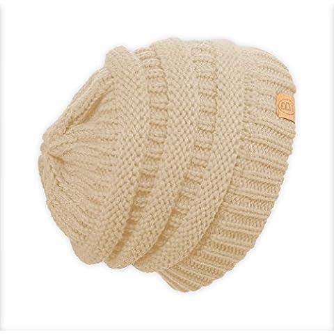 Basico Unisex Cálido Grueso Elástico Suave Cable Knit–Gorro de punto