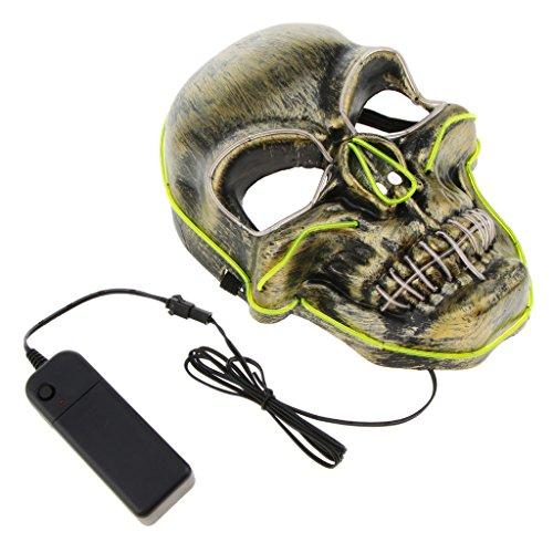 D DOLITY LED Leuchtende Schädel Maske Skelett Maske Halloween Kostüm Maske mit Batterie Energie (Grüne Energie Halloween Kostüm)