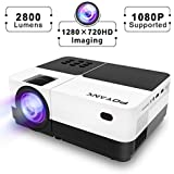 POYANK [1080P Supported] 720P HD Imaging Video Projector - 2800Lumens LCD Video Projector For Home Theater Entertainment- 60,000 Hours LED Home Projector, AV,HDMI,USB,TV,SD,Xbox,DVD Player Supported