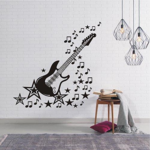 HomeTattoo ® WANDTATTOO Wandaufkleber Musik E Gitarre Music Noten Sterne Wohnzimmer 492 XL ( L x B ) ca. 117 x 120 cm (lichtblau 056) (Sterne-gitarren)