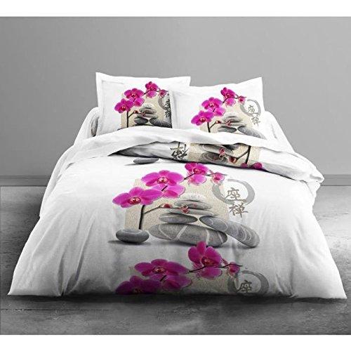 Today 016086Only Zen Corellia–Juego de cama de 2personas poliéster color blanco/gris/rosa 240x 220cm