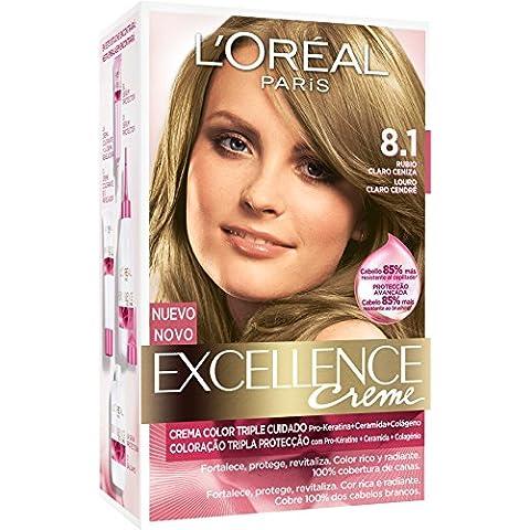 L'Oréal Paris Coloración Excellence Crème Triple Protección 8.1 Rubio Claro Ceniza - 200 gr
