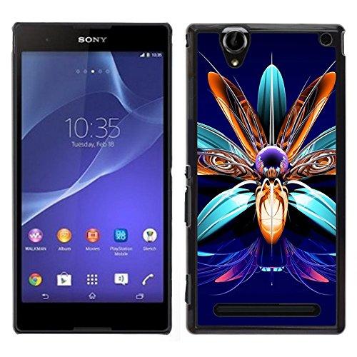 Dura del PC Custodia Protettiva Cellulare Caso Hard Protective Case Smartphone Cover for Sony Xperia T2 Ultra // Art fiore pietre preziose monili di disegno // CooleCell
