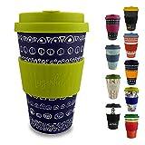 Morgenheld ☀ Dein trendiger Bambusbecher | umweltfreundlicher Coffee-to-Go-Becher | nachhaltiger Kaffeebecher mit Silikondeckel und Banderole in coolem Design 400 ml Füllmenge (Blacky - grün)