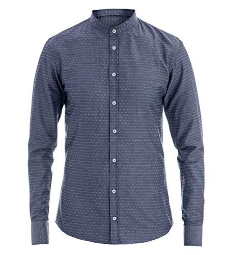 12a82289c6 Giosal camicia uomo collo coreano blu micro fantasia pois slim blu-m