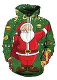 Uideazone Jungen-3d-Druck-Weihnachten Weihnachtsmann-Pullover-Kapuzenpulli Lustiges hässliches Weihnachtshemd-Grün