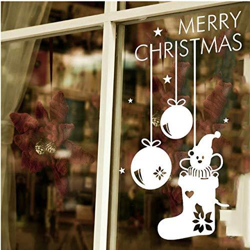 Ziruixiong Frohe Weihnachten Niedlichen Bären In Den Strumpf Fenster Aufkleber Weihnachten Wanddekoration Neujahrsgeschenk Abnehmbare Wand Deacals