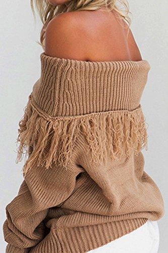 Le Donne Inverno Casual Manica Lunga Nella Scia Tassel Maglia Pullover Top Coffee