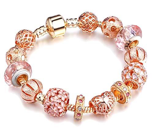 Chanmé - braccialetto da donna in oro rosa, con perle in vetro e cristalli, in confezione regalo e placcato oro, colore: oro rosa, cod. cm1010