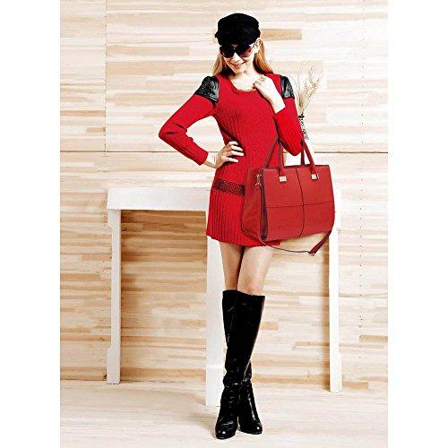 Trendstar Frauen-Schulterbeutel Der Damen Designer-Große Handtasche Kunstleder Art Und Weise Tote Rot Extra Große Tasche