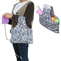 Teamoy Bolso de Ovillos Bolsa en Mano de Tejer Bolsos para Agujas Mochila de Crochet (pequeño, Flores)