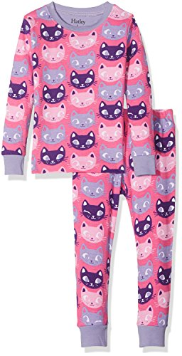 Hatley Mädchen 100% Organic Cotton Long Sleeve Printed Pyjama Sets, Pink (Silly Kitties), 5 Jahre (Mädchen Cotton Pyjama)