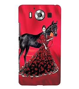 PrintVisa Fashion Horse Girl Dress Design 3D Hard Polycarbonate Designer Back Case Cover for Nokia Lumia 950