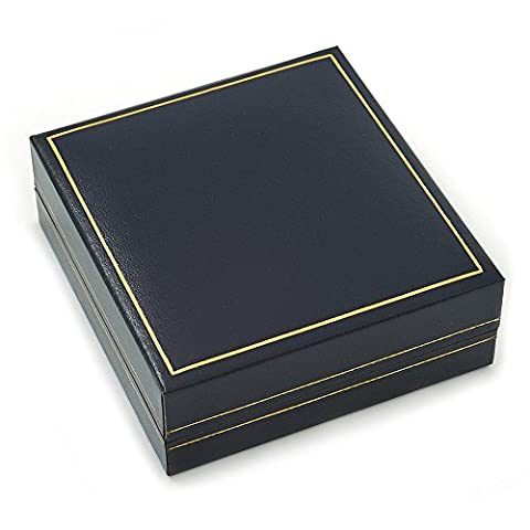 Large Luxury Square Dark Blue Leatherette Brooch/ Pendant/ Earrings Jewellery Box