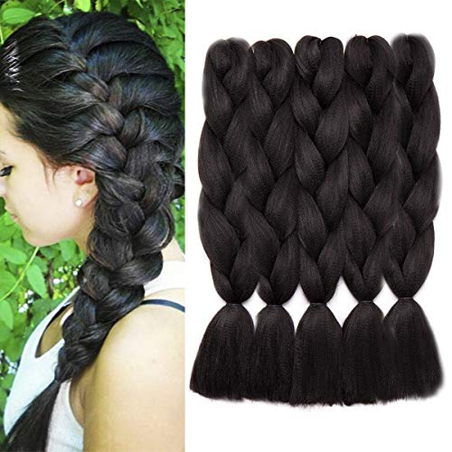 5 bundle treccine extension 60cm capelli sintetici lunghi braids hair extensions 100g/bundle, confezione da 5, nero