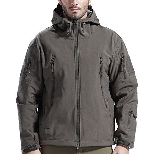 SANKE Herren Outdoor Softshell Militär Taktische Jacke Winter Fleece Kapuzenmantel