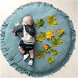 Rund Krabbeldecke Gepolstert Spielmatte Groß Baumwolle Kinderteppich Babyzimmer Dekoration (100 * 100CM, grün)