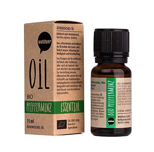 Wohltuer Bio Pfefferminzöl Minzöl Ätherisches Öl Pfefferminz Bio (15ml) Organic Essential Oil Mint Duftöl Aromaöl -