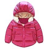 ODJOY-FAN Kind Mode Daunenjacke, Kinder Jacken Mantel Kleidung Junge Mädchen Winter Schneeanzug Verdicken Oberbekleidung Einfarbig Kapuzenpullover Casual Hoodies Coat (Heiß Rosa,80)