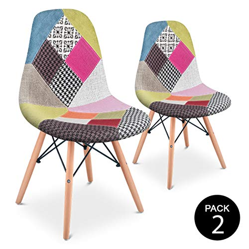 Mc Haus Pack 2 Sillas Comedor Vintage Diseño Tapizado Estilo Patchwork, Rosa, 42 x 47 x 83 cm