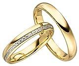 Verlobungsringe Eheringe Trauringe Partnerringe 2 Ringe Gold Plattiert JC005 *mit Gravur und Stein*