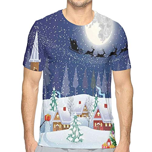 3D Printed T Shirts,Winter Season Snowman Xmas Tree Santa Sleigh Moon Present Boxes Snow and Stars XXL Chicken Music Box