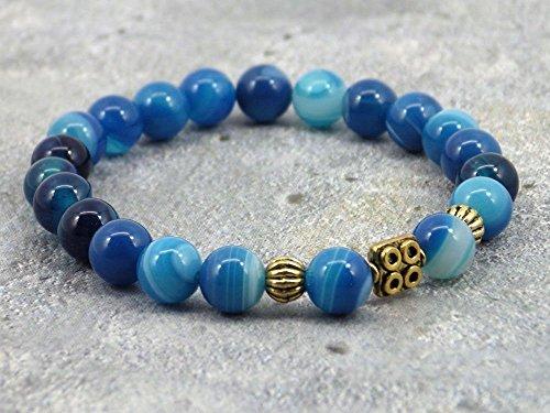 Zen-Armband aus natürlichem Achat mit zentraler Perle in Messing vergoldet