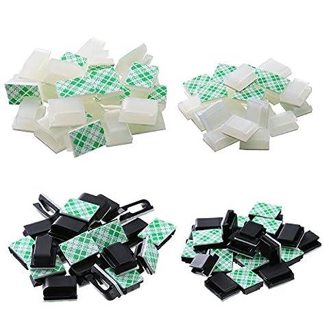 eBoot 100 Stück Selbstklebend Kabel Drop Kabelklemme Management Clips Draht Schnur Halter 2 Größen, 2 Farben